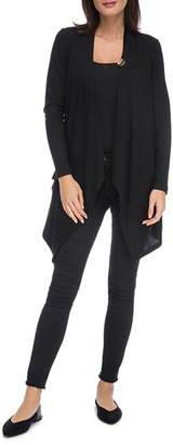 Bobeau B Collection by Draped One-Button Cardigan