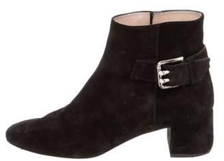 Tod's Suede Square-Toe Ankle Boots Black Suede Square-Toe Ankle Boots