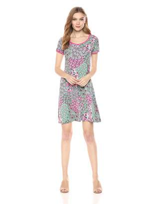 MSK Women's Printed t-Shirt Dress with Contrasting Piping, M