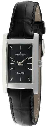Peugeot Women's Classy Silver Plated H Rectangle Case Black Leather Band Dress Watch 3008BK