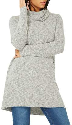 Dorothy Perkins Grey Brushed Cowl Neck Tunic