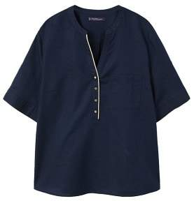 Violeta BY MANGO Metallic embroidery linen-blend blouse