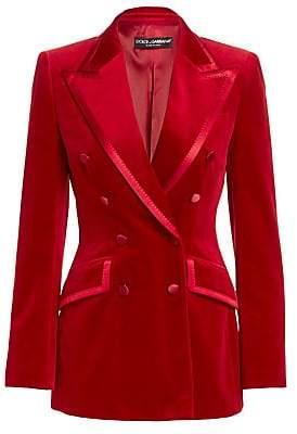 Dolce & Gabbana Dolce& Gabbana Dolce& Gabbana Women's Velvet Double-Breasted Jacket