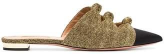 Aquazzura black and metallic gold mondaine leather mules