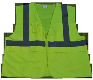 Petra Roc LV2-SUV-S-M Safety Vest Ansi Class 2 Multi-Pocket Surveyors Lime Solid, Small & Medium