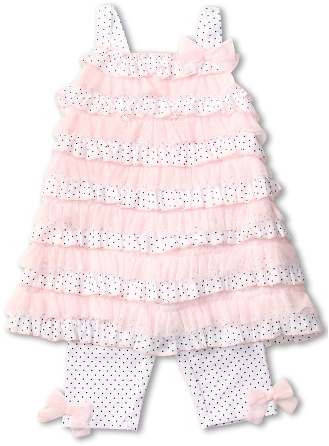 Kate Mack Pin Dot Tunic and Legging Set (Toddler) (White/Black 2) - Apparel