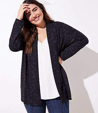 LOFT Plus Spacedye Knit Open Cardigan