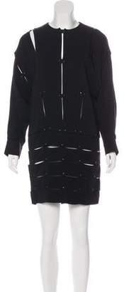 Tom Ford Leather-Trimmed Shift Dress