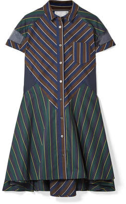 Sacai Organza-trimmed Striped Cotton-blend Poplin And Cotton-twill Dress - Navy