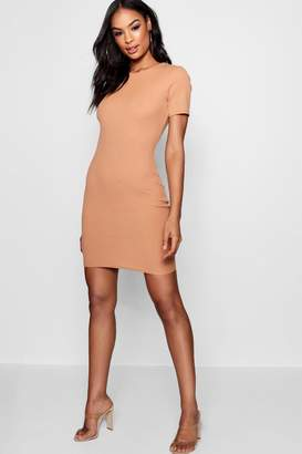 boohoo Crew Neck Rib Knit Bodycon Dress