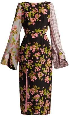 Natasha Zinko Floral Houndstooth Silk Midi Dress - Womens - Pink Multi