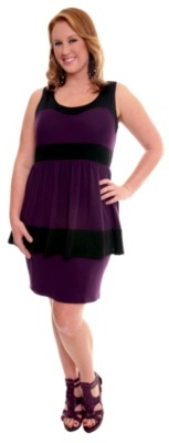 Black and Purple Peplum Knit Tank Dress