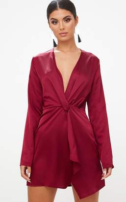 PrettyLittleThing Chocolate Satin Long Sleeve Wrap Shift Dress