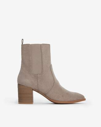 Express Faux Suede Heeled Booties