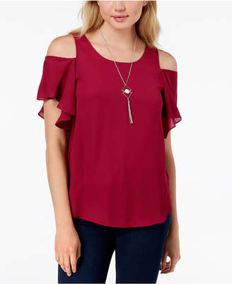 BCX Juniors' Cold-Shoulder Necklace Top