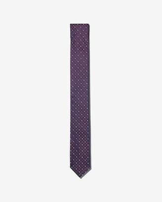 Express Slim Micro Check Reversible Silk Tie