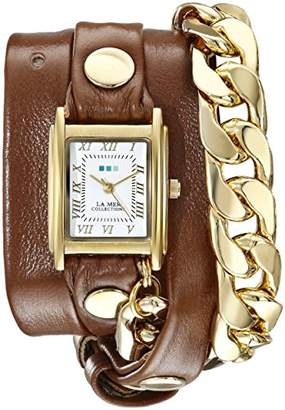 La Mer Women's LMSCW4001 Malibu Gold-Tone Watch with Wrap-Around Leather Band