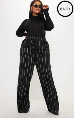 PrettyLittleThing Plus Black Casual Wide Leg Trouser