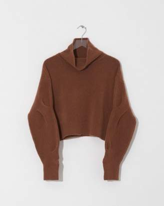 Alexander Wang Camel Chunky Wool Cropped L/S Sweater
