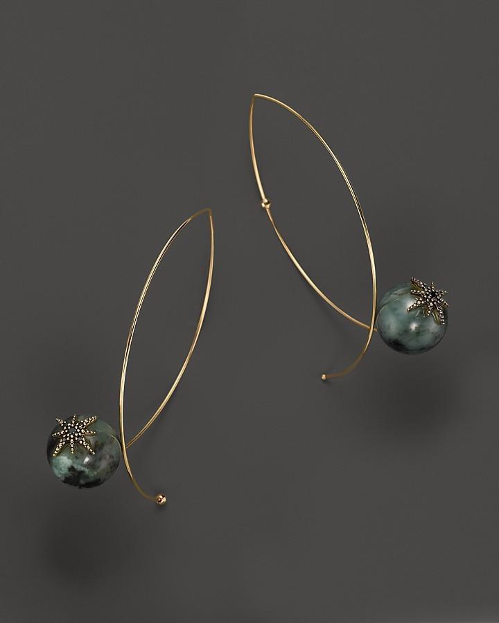 Mizuki 14K Yellow Gold Marquis Hoop Earrings with Emeralds and Black Diamonds