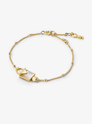 Michael Kors 14k Gold-Plated Sterling Silver Lock Bracelet