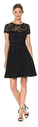 Bebe Women's Lace Fit and Flare Dress With Ottoman Skirt and Open Back