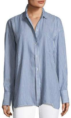 Vince Classic Stripe Long-Sleeve Tunic Shirt