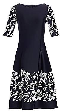Teri Jon by Rickie Freeman Women's Lace Appliqué Short-Sleeve Dress
