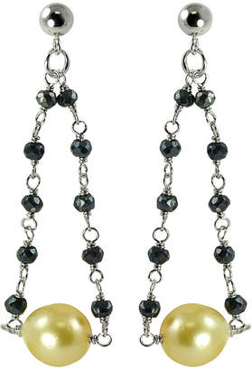 Pearls Silver Spinel & 9-10Mm South Sea Pearl Earrings