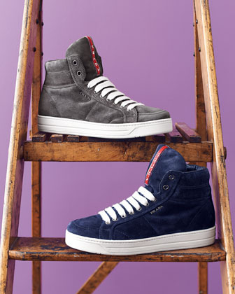 Prada Suede Side-Zip High-Top Sneaker