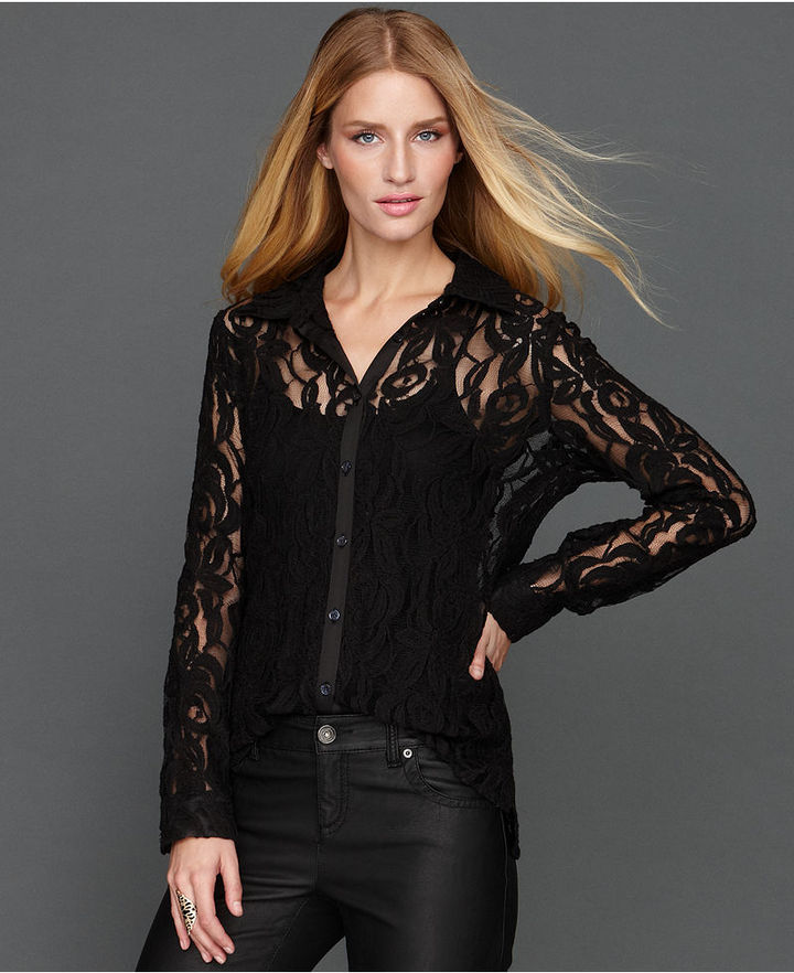 INC International Concepts Top, Long-Sleeve Lace Shirt