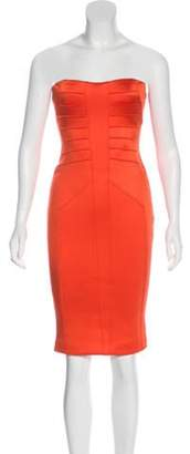 Versace Strapless Knee-Length Dress Orange Strapless Knee-Length Dress