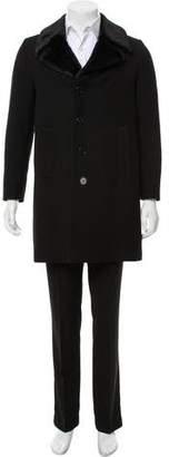 Saint Laurent Wool Faux Fur Coat