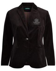 Ralph Lauren Crest Stretch Velvet Blazer Polo Black 14