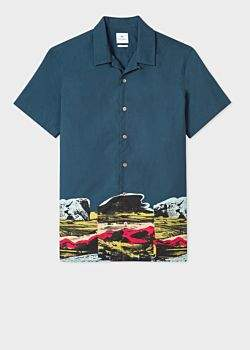 Paul Smith Men's Classic-Fit Navy Short-Sleeve Shirt With 'Harold's Landscape' Print Hem Detail