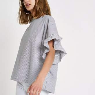River Island Womens Grey stripe frill sleeve T-shirt