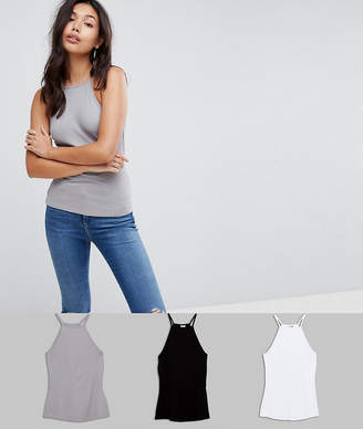 Asos DESIGN cami with square neck in fitted rib 3 pack