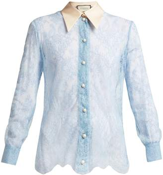 Gucci Ribbon-tie sheer Chantilly-lace blouse
