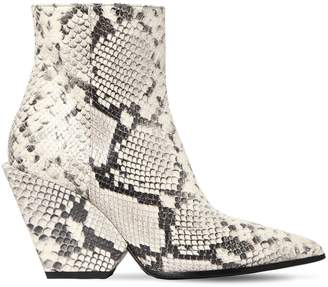 Elena Iachi 80mm Snake Print Leather Ankle Boots
