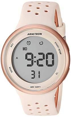 Armitron Sport Unisex 40/8423PBH Digital Chronograph Rose Gold-Tone and Blush Pink Silicone Strap Watch