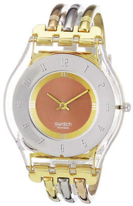 Swatch Tri-Gold S Tri-Tone Stainless Steel and Plexiglass Watch