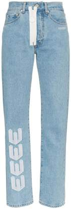 Off-White embroidered arrow straight leg jeans
