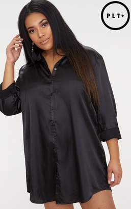 PrettyLittleThing Plus Black Satin Button Front Shirt Dress