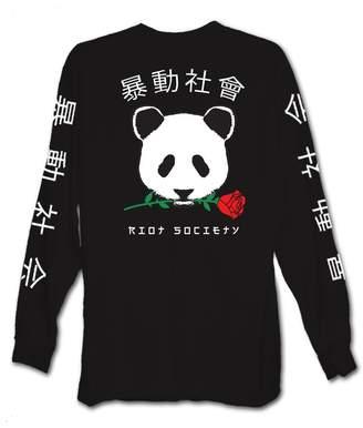 Riot Society Panda Rose Mens Long Sleeve T-Shirt - L