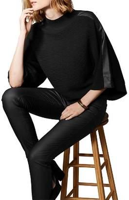 Karen Millen Faux Leather-Trim Sweater