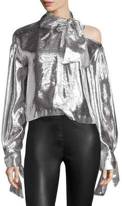 IRO Harjava Tie-Neck Cold-Shoulder Metallic Top