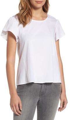 Women's Bobeau Ruffle Sleeve Poplin Top $59 thestylecure.com
