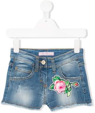 Miss Blumarine rose patch denim shorts