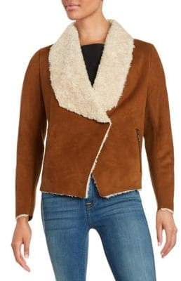 Bernardo Draped Faux Sherpa Jacket