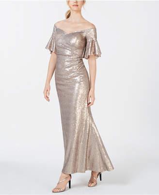 Calvin Klein Sequin Off-The-Shoulder Gown
